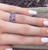Vintage Emerald Diamond Band White Gold Stacking Ring, Diadem
