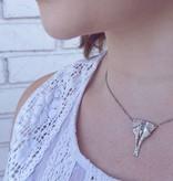 Organic Marquise Aquamarine Silver Necklace, Luna Moth