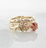 Organic Peach Champagne Sapphire Yellow Gold Wedding Ring Set, Roots