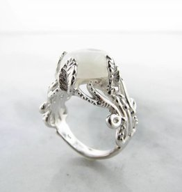 Vintage Silver Moonstone Ring, Leafy Victorian