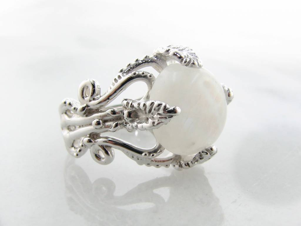 Vintage Silver Moonstone Ring, Leafy Victorian