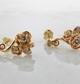 Signature Rose Yellow Gold Diamond Earrings, Island Rose Garden