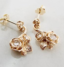 Signature Rose Yellow Gold Diamond Earrings, Island Rose Garden