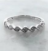 Vintage White Gold Band Diamond Stacking Ring, Twist