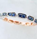 Vintage Rose White Gold Two Tone Blue Sapphire Stacking Ring, Gondola