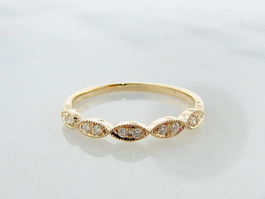 Vintage Yellow Gold Milgrain Diamond Ring, Engageante