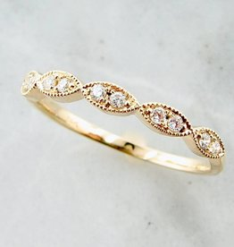 Vintage Yellow Gold Milgrain Diamond Ring, Engageante