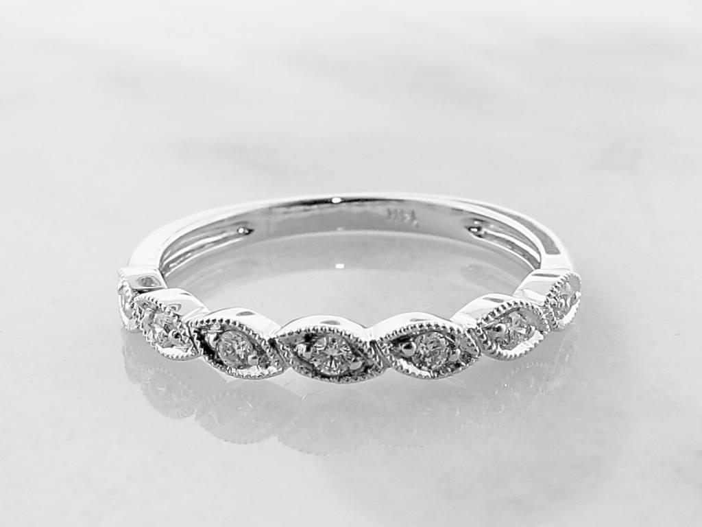Vintage White Gold Milgrain Diamond Ring, Lady Meux