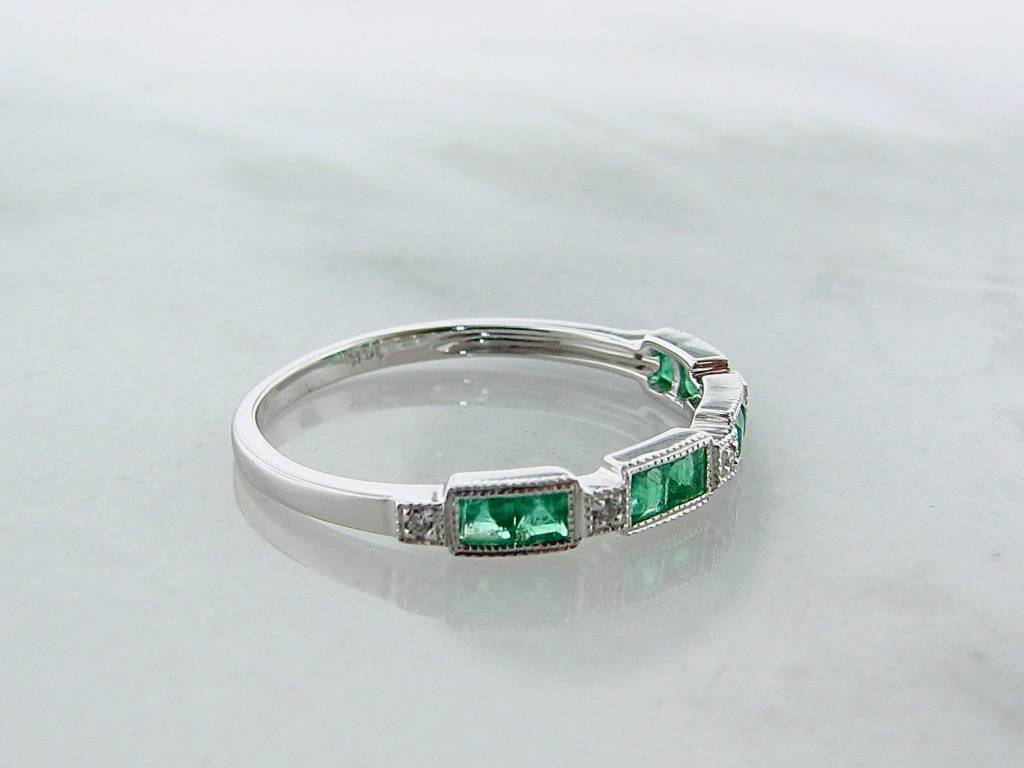 Vintage Emerald Diamond Band White Gold Stacking Ring, Orient Express