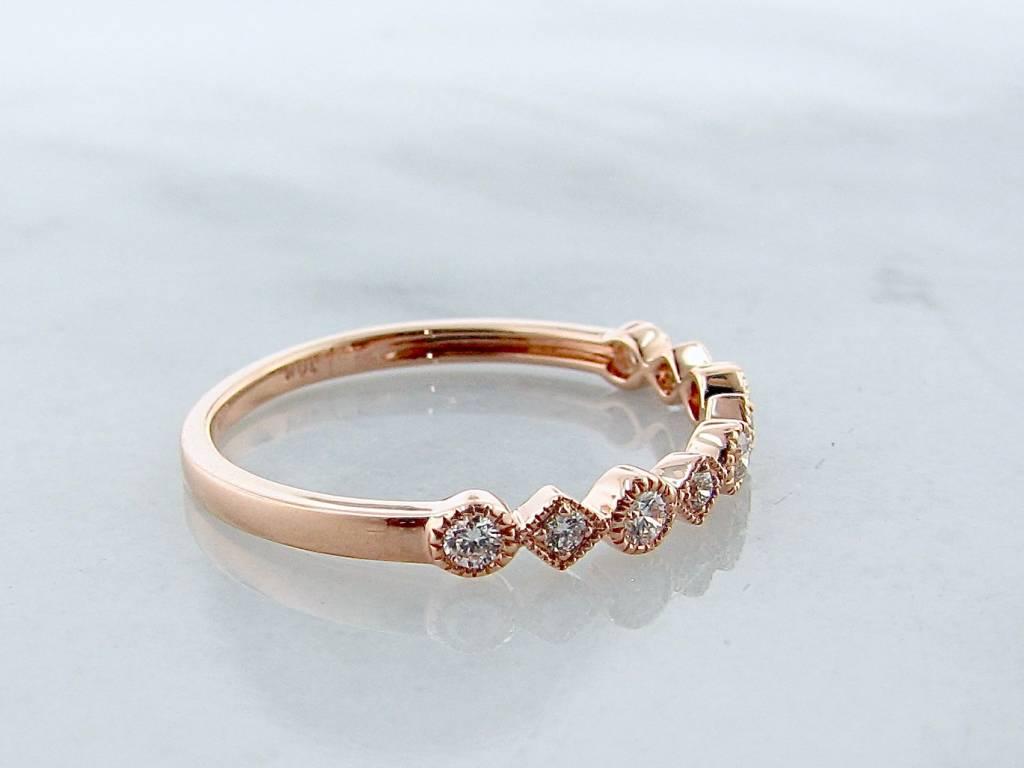 Vintage Rose Gold Diamond Milgrain Stacking Ring, Metric Minimalism