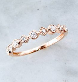 Vintage Rose Gold Diamond Milgrain Stacking Ring, Metric Minimalism