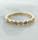 Vintage Yellow Gold Diamond Milgrain Stacking Ring, Metric Minimalism