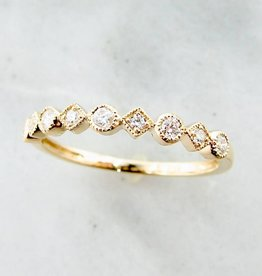 Vintage Yellow Gold Diamond Milgrain Stacking Ring, Metric Minimalism