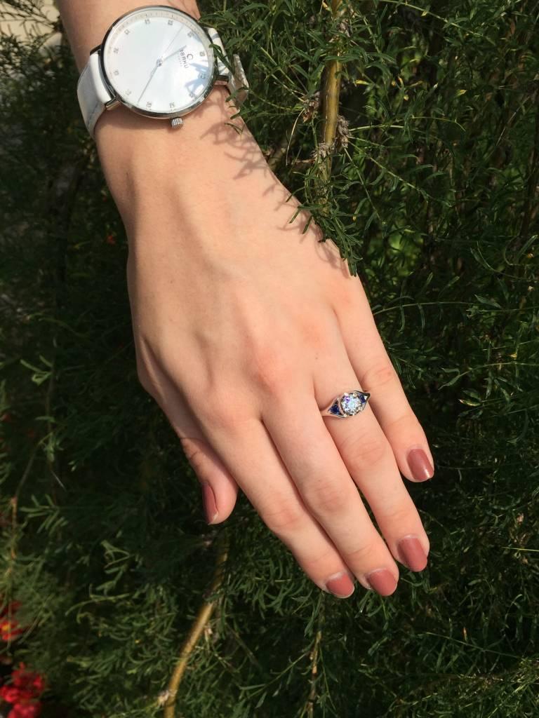 Sleek Diamond Sapphire White Gold Engagement Ring, Classic