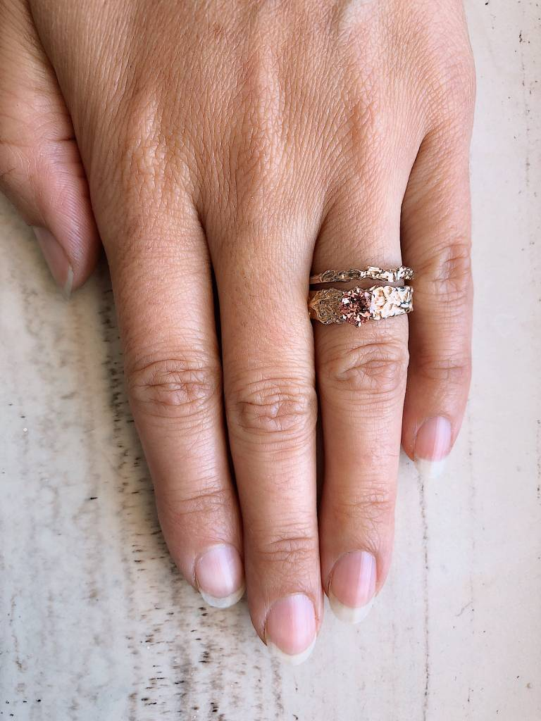 Peach Champagne Sapphire Yellow Gold Wedding Ring Set, Roots $1589 ...