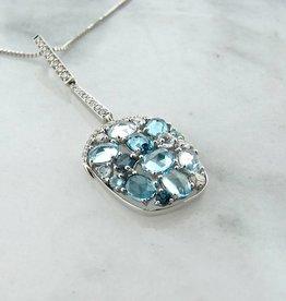 Motion Blue Topaz Diamond White Gold Necklace, Tide Pool