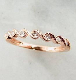Timeless Bridal Rose Gold Band Diamond Stacking Ring, Rose Twist