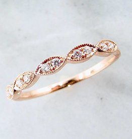 Vintage Rose Gold Milgrain Diamond Ring, Engageante