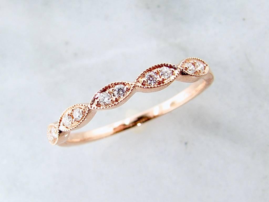 Vintage Rose Gold Milgrain Diamond Ring, Engageante