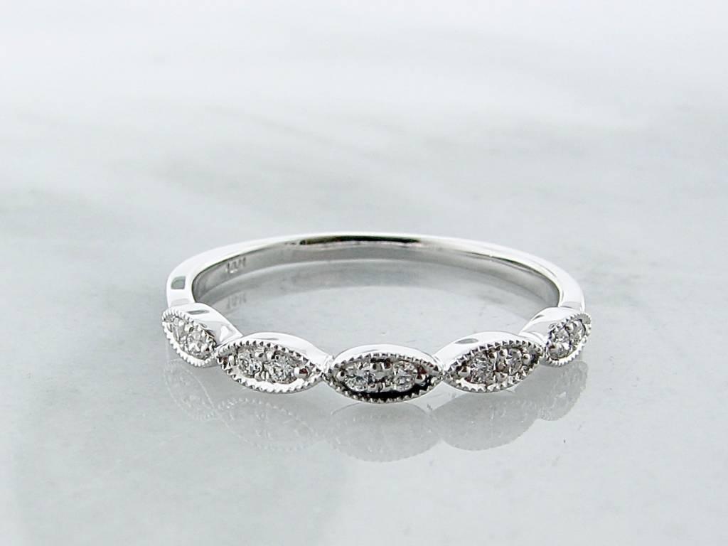 Vintage White Gold Milgrain Diamond Ring, Engageante