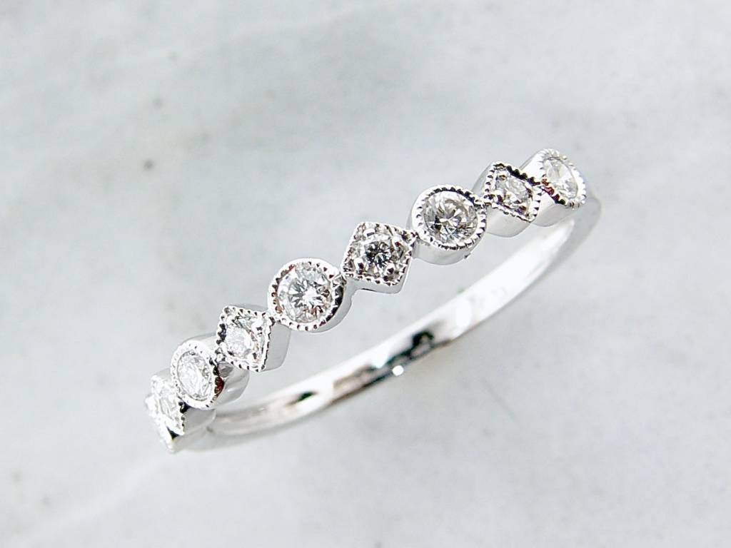 Vintage White Gold Diamond Milgrain Stacking Ring, Metric Minimalism