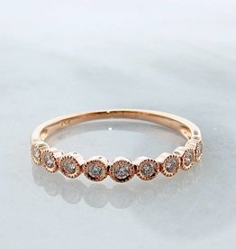 Vintage Rose Gold Diamond Bezel Stacking Ring, Moon Phases