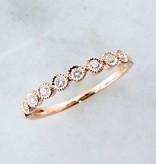 Vintage Rose Gold Diamond Bezel Stacking Ring, Moon Phases