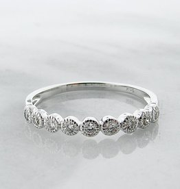Vintage White Gold Diamond Bezel Stacking Ring, Moon Phases