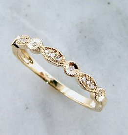 Vintage Yellow Gold Diamond Milgrain Diamond Stacking Ring, Tempo