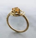 Motion 18K Yellow Gold Fire Opal Ring, Solar Orbit