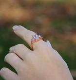 Vintage Morganite Pearl Rose Gold Ring, Old Paris