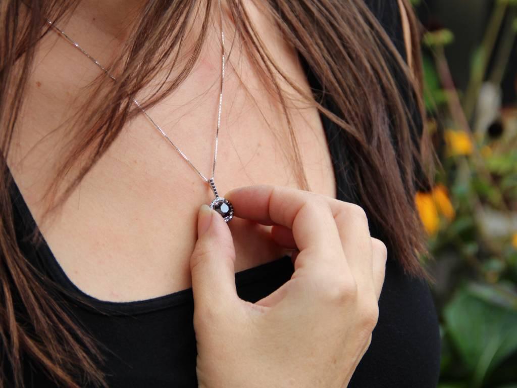 Sleek Black Diamond White Gold Necklace, Contemporary