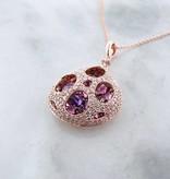 Motion Rose Gold Diamond Amethyst Pendant, Lotus Pod