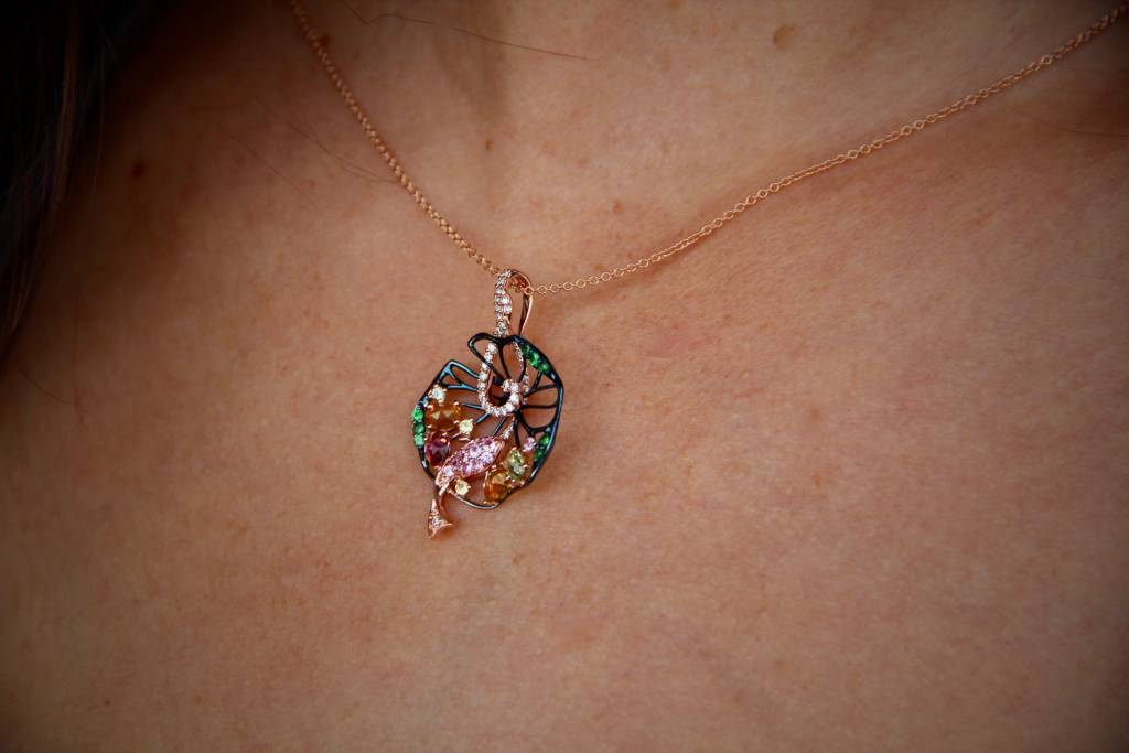 Organic Rose Gold Diamond Sapphire Tourmaline Peridot Necklace, Oriental Pond