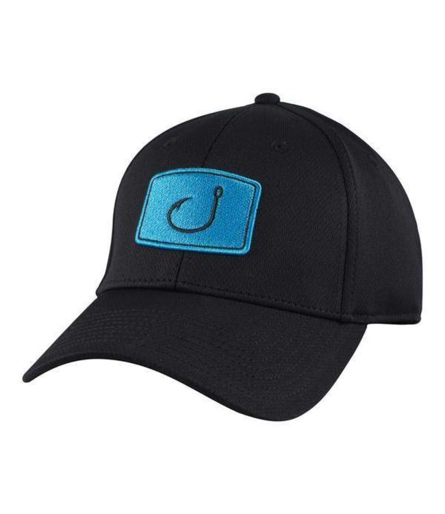 f3c6c2cb50b54 AVID Iconic Black and Cyan Fitted Fishing Hat