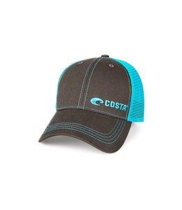 Costa Del Mar Neon Blue Graphite Trucker Hat