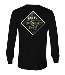 Salty Crew Tippet Camo Black Long Sleeve Tee