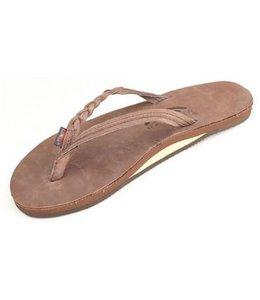 Rainbow Flirty Braidy Expresso Single Layer Leather Sandals