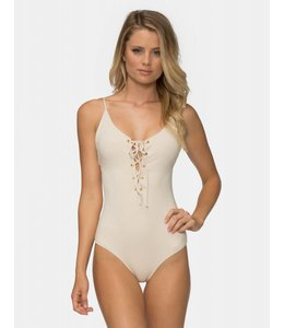 Monahan One Piece Glossy Pique Tapioca Swimsuit