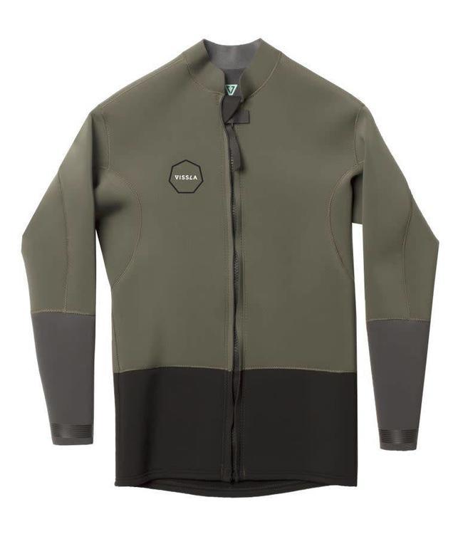 VISSLA 2mm Dark Olive Front Zip Jacket