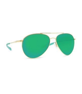 Costa Del Mar Piper Shiny Gold 580P Green Mirror Lens Sunglasses