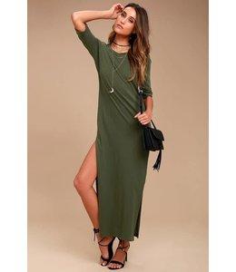 TAVIK Parker Short Sleeve Olive Green Maxi Dress