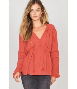 Amuse Society Chateau Salsa Red Woven Top
