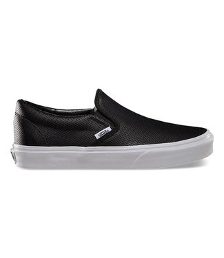 Vans Classic Slip On Black Leather Perf Shoe