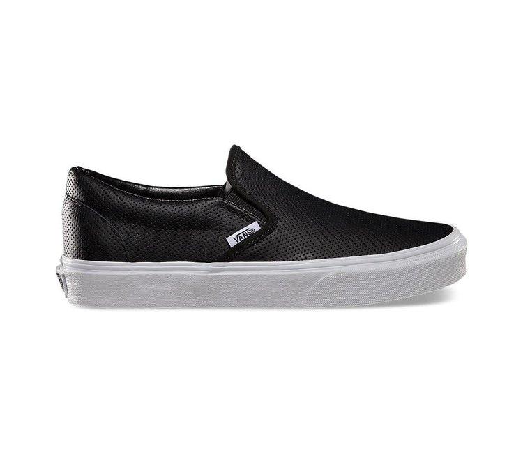 vans classic black and white slip on