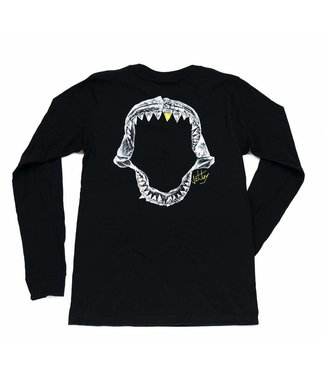 Jaws Long Sleeve Black Tee
