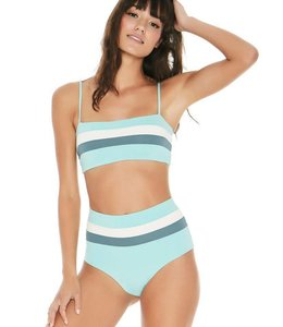 L Space Rebel Stripe Turquoise Top