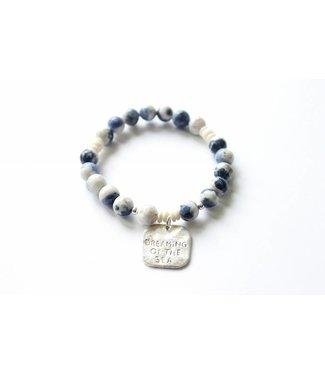 Ocean Minded Sodalite/Howlite Charm Bracelet