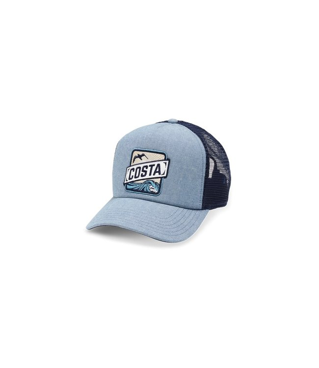 Costa Del Mar Blue Chambray Trucker Hat