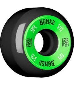 Bones 100's V5 54mm Green on Black Skate Wheels